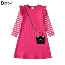 DXTON Princess Girl Dress 2019 Christmas Kids Dress Party Stripe Winter Children Clothing Long Sleeve Girls Costume Dress 3-8Y