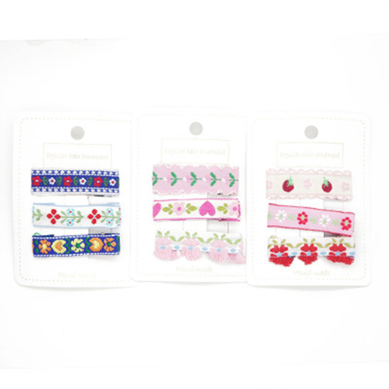 3Pcs set Embroidery Hair Clips For Girls Ethnic Style Hair Pins Kids White Flower BB Baby Hairpin Barrettes Hair Accessories New