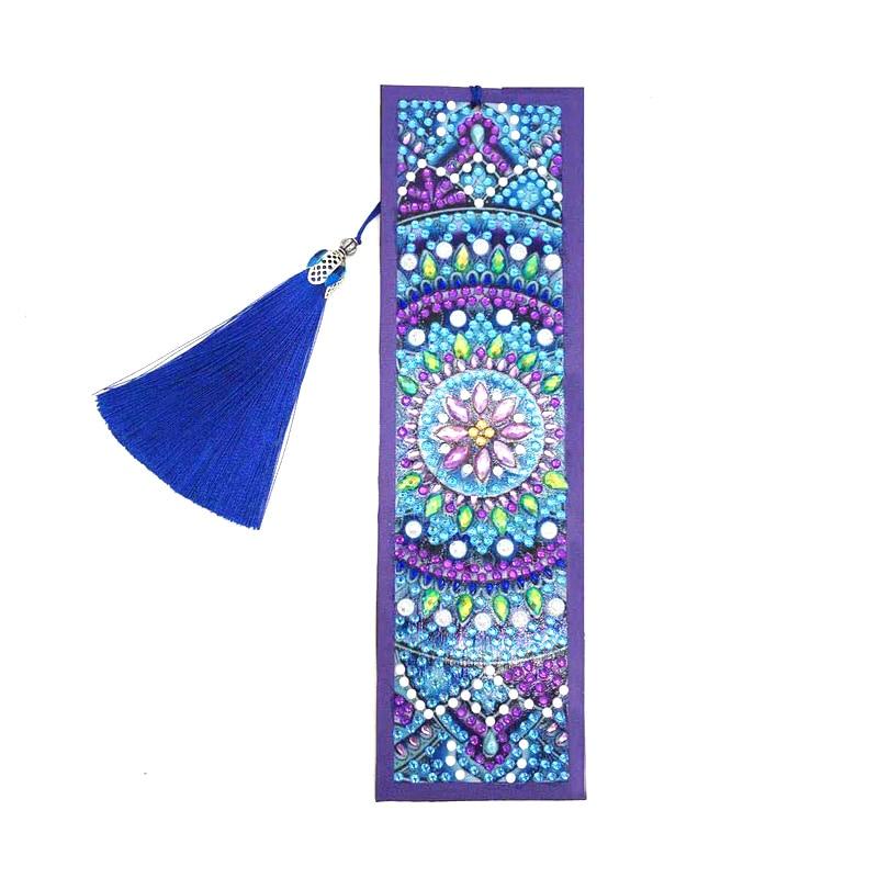 DIY Leather Bookmark Special Shaped Diamond Painting Creative Tassel Book Marks Religious mandala flower Pattern Handmade Craft|Diamond Painting Cross Stitch| - AliExpress
