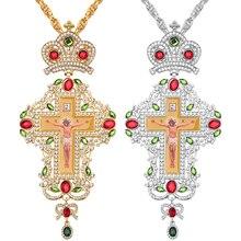 אורתודוקסי צלב חזה Collares כתר סמל דתי ביזנטי קתולי צלב שרשרת אישור תליון ארוך שרשרת