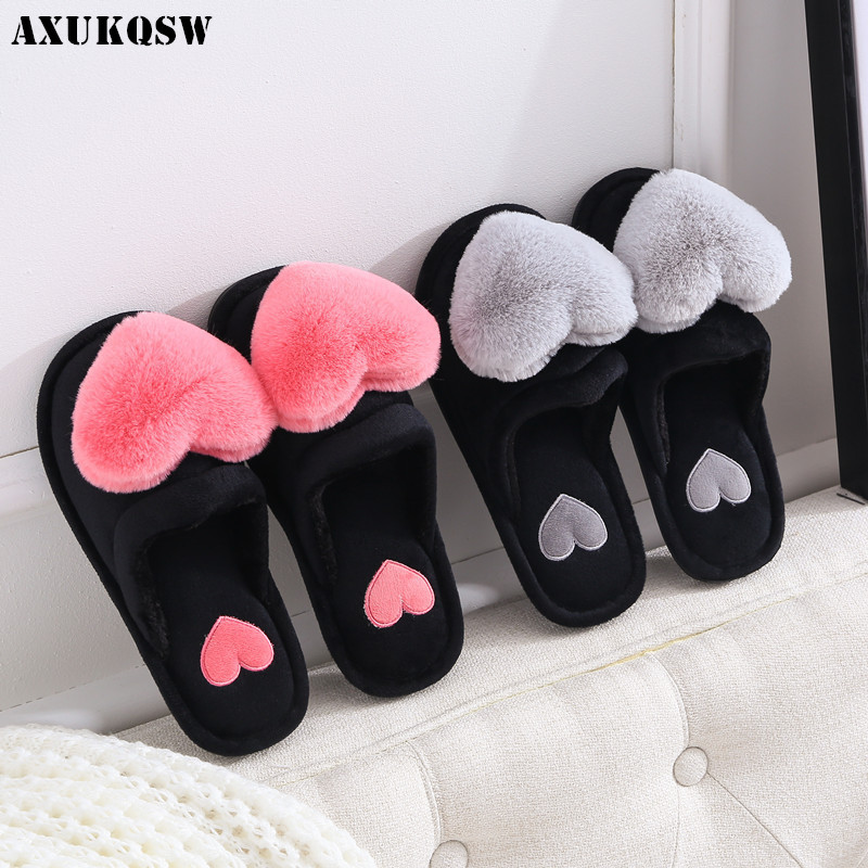 Women Sandals Love Heart Cotton Slippers 35-41 Winter Fur Slides Ladies Home Furry Slippers Warm Indoor Shoes Claquette Fourrure