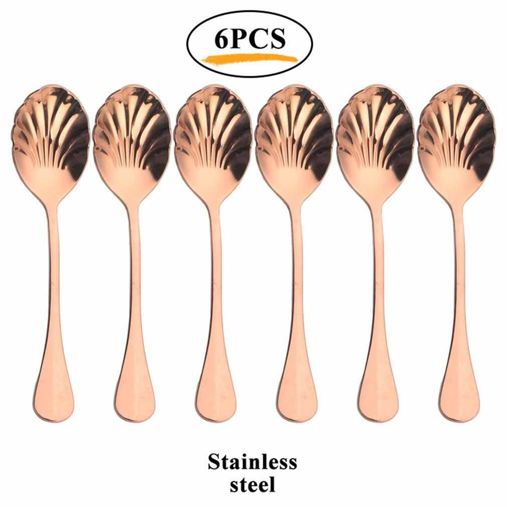 6Pcs Shell Shape Stainless Steel Teaspoons Coffee Spoons Ice Cream Sugar Dessert Spoons Colorful Rainbow Spoons for Kitchen Bar