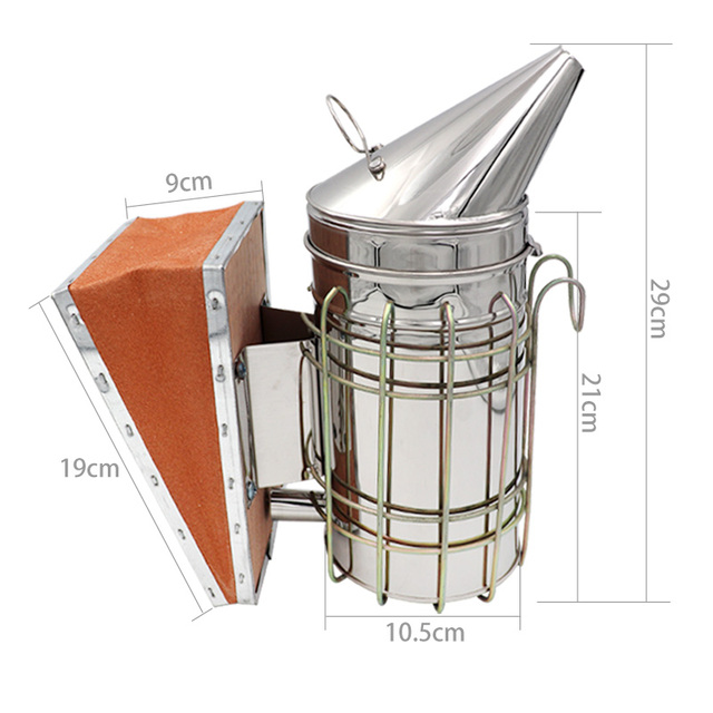 1 Pc Beekeeping Tool Stainless Steel Bee Hive Smoker Galvanized Iron With Heat Shield Protection 5