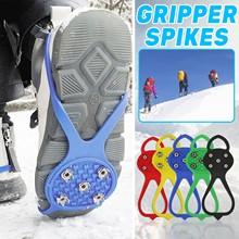 Ice Gripper na buty kobiety mężczyźni raki Ice Gripper Spike uchwyty knagi na śnieg szpilki antypoślizgowe wspinaczka piesze wycieczki obejmuje # T1P tanie tanio CN (pochodzenie) Buty covers Spring2019