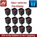 12 шт. высокой мощности 4x18 Вт беспроводной сценический светильник с аккумулятором управляемый светодиодный par свет RGBWAUV IP65 водонепроницаемы...