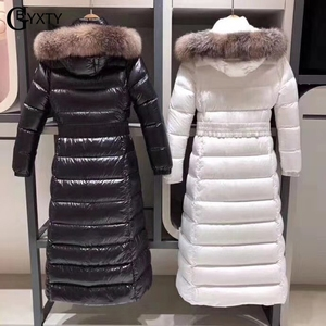 Image 3 - Gbyxty本物のキツネの毛皮の襟厚い 2020 冬の女性のフード付きロングダックダウンジャケットアウターフェザーパーカーブランドZA1766