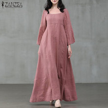 Zanzea vestido de outono feminino vintage gola quadrada manga longa alargamento vestidos de festa soltos robe casual algodão linho vestido7