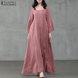 ZANZEA Women Autumn Dress Vintage Square Collar Long Flare Sleeve Sundress Loose Party Dresses Robe Casual Cotton Linen Vestido7