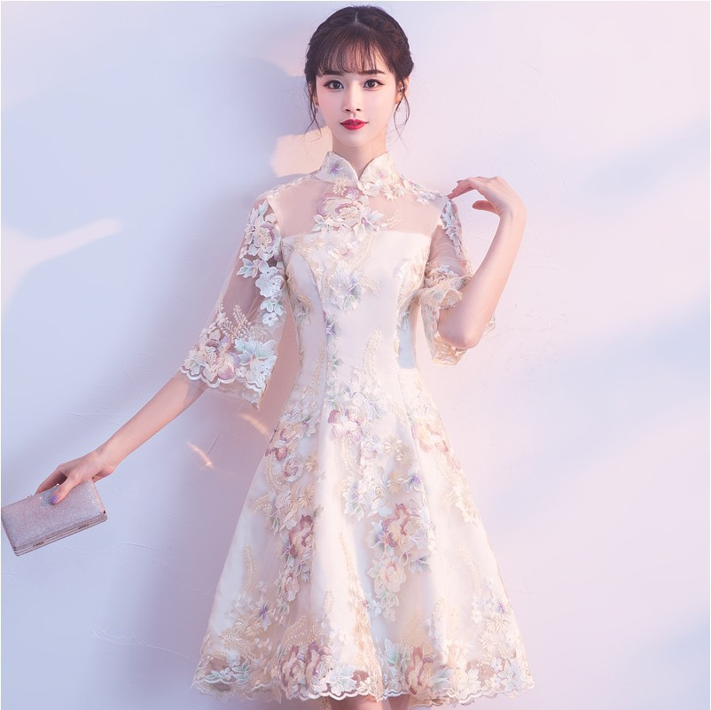 Improved Cheongsam 2018 New Style Summer Long Sleeve Daily Life Slim Fit Retro Short Dignified Glorious Dress Graceful Women's