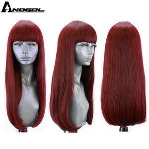 Image 5 - Anogol יין אדום שחור חום אפור ורוד בלונד סינטטי פאה עם פוני לנשים ארוך ישר עמיד בחום שיער פאה