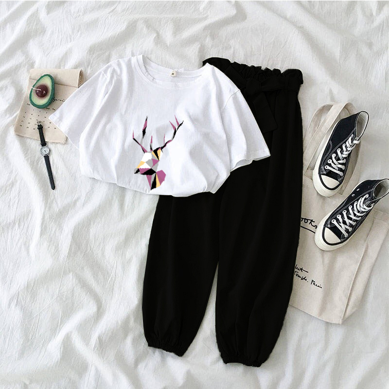 New Women Two Piece Outfits Korean Casual Deer Print Tees Tops + Bow Belt Pants Female 2 Piece Pants Set Summer Tracksuit 2020