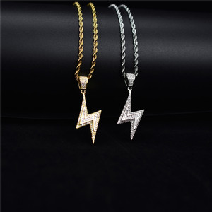 Image 2 - Gold Silver Color Iced Bolt Necklaces Fashion  AAA Zircon Pendant Lightning Pendants Jewelry Mens Hiphop Chains Drop Shipping