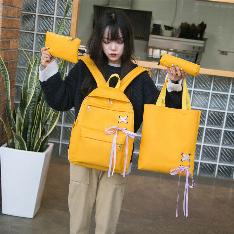 2019 Newest Fashion 4pcs/Set Backpack Women Canvas Travel Bookbags School Bags For Teenage Girls