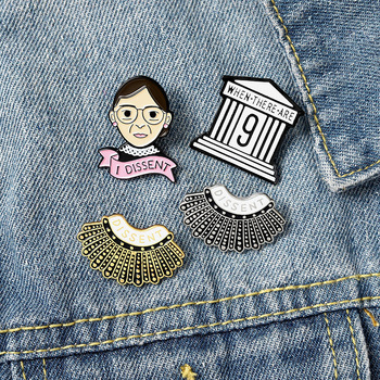I Dissent Ruth Bader Ginsburg Enamel Pin Female Justice Brooch Cartoon Shirt Hat Lapel Pins Feminist Jewelry Gift For Women image