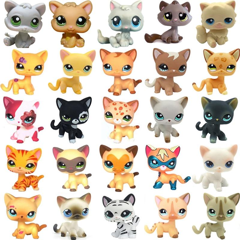 Rare Pet Shop Toys Mini Stands Short Hair Kitten Old Figures Collection Original Cute Animal