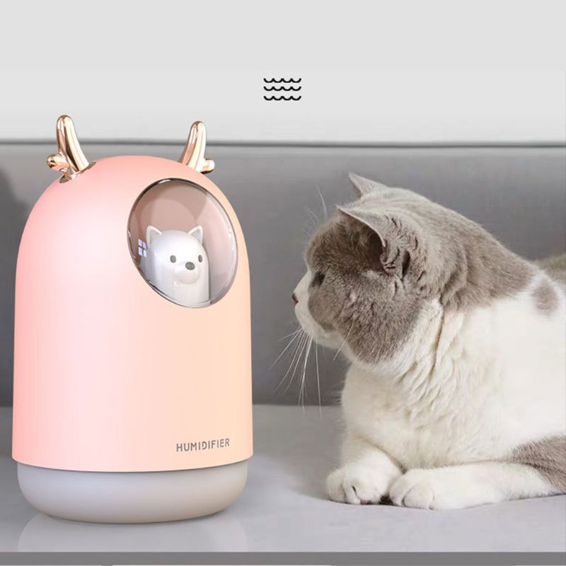 300ml Bear LED Ultrasonic USB Air Humidifier Aroma Essential Table Oil Diffuser