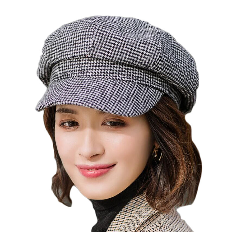 2019 New Autumn Winter Female Houndstooth Classic Knitted Octagonal Cap Fashion British Striped Beret For Women Gift in Men 39 s Berets from Apparel Accessories