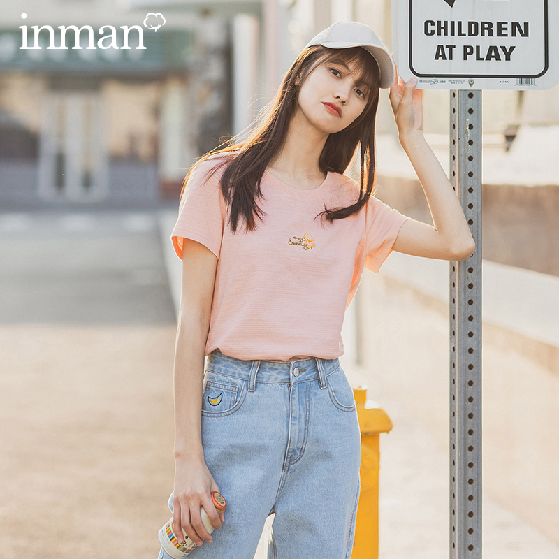 INMAN 2020 Summer New Arrival Korean Artsy Style Short Sleeve All Match Embroidery Pattern Fit Body T Shirt