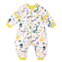 baby anti kicking quilt thickened autumn and winter 3-year-old children's pure cotton baby split sleeve sleeping bag