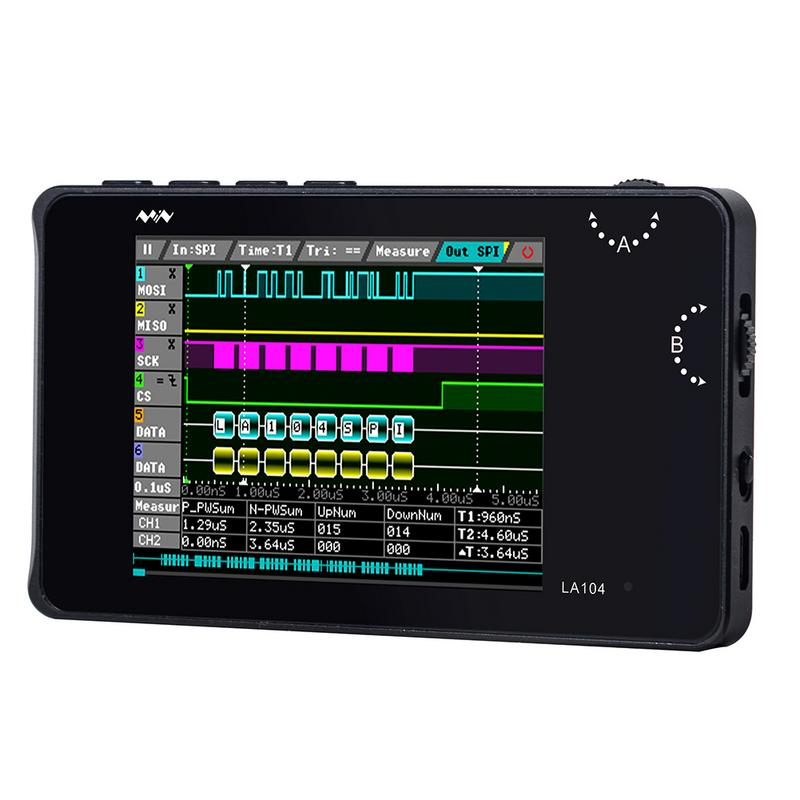 ABGN Hot-Digital Logic Analyzer 2.8 Inch Screen 4 Channels Oscilloscope SPI IIC UART Programmable 100MHz Max Sampling Rate PWM I