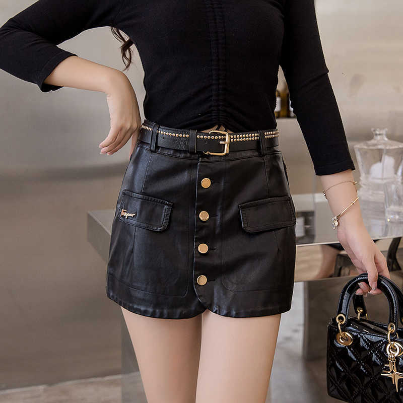 brand 2019 fashion new street Night club seaside Party Loose Sports skirt Short skirt Under skirt PU bag hip skirt
