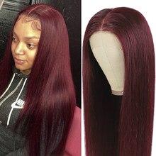Cor natural perucas do laço do cabelo humano brasileiro em linha reta 13x4 frente do laço perucas de cabelo humano para as mulheres parte média peruca de cabelo remy 150%