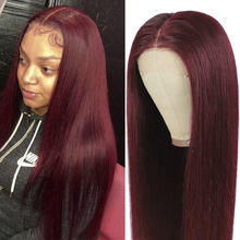 Wigs Closure Human-Hair Straight Lace Black Women Pre-Plucked Brazlian 4x4 99J for 150-%
