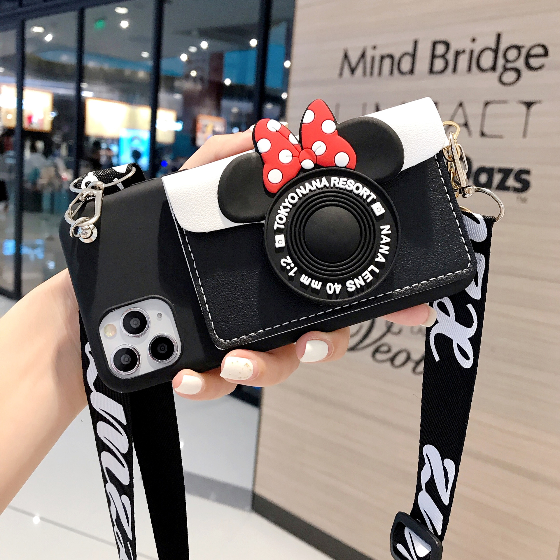 3D Cartoon Mouse Leather Wallet Lanyard Soft Phone Cover For Iphone 12 11 Pro MAX X XR XS 7 8 6S Plus SE 2020