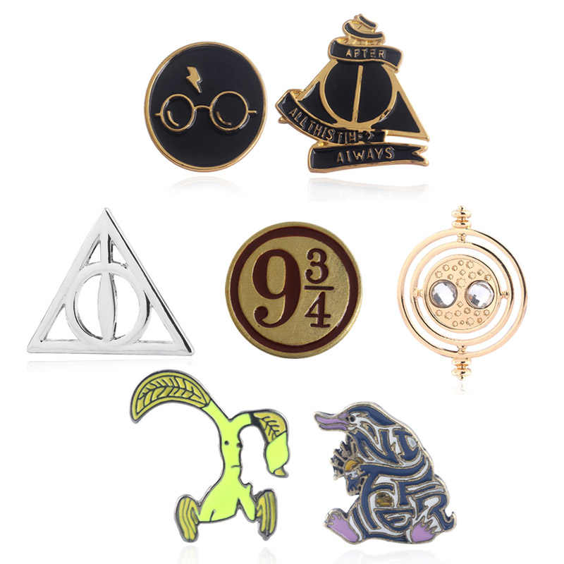 Rj Hp Pins Broches Hogwarts Gruzielementen Deathly Hallows Pin Occamy Bowtruckle Niffler Voor Lady Kid Sieraden Gift