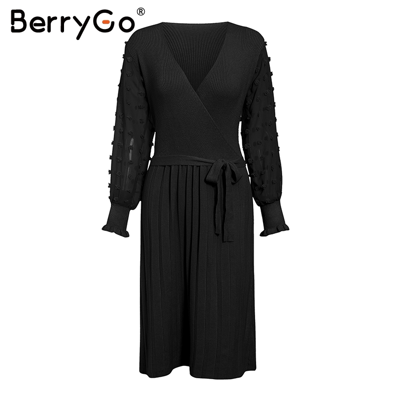 Image 5 - BerryGo Ruffle long sleeve knitted dress women V neck sashes female pleated dresses High waist luxury autumn winter office dress-in Dresses from Women's Clothing