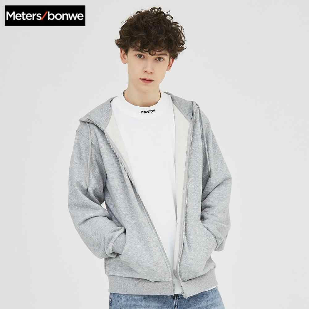 Metersbonwe 남자 캐주얼 지퍼 후드 패션 조수 2020 새로운 봄 가을 야구 재킷 남성 틴 에이저 코트 운동복