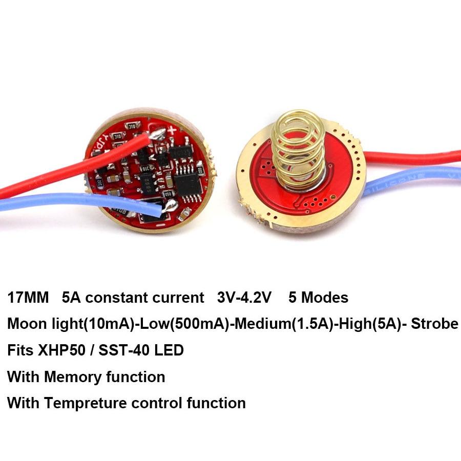 17mm 5A 5-Mode sürücü devre kartı PCB plaka XM-L3 L3 SST40 3V XHP50 LED el feneri modu ile bellek ters koruma