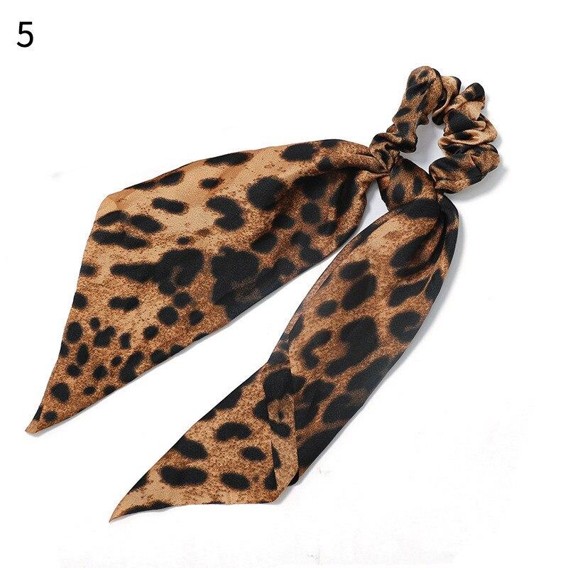 Элегантные резинки для волос с большим цветком и леопардовым принтом; эластичные резинки для волос для женщин и девочек; завязанные длинные резинки; шарф; аксессуары для волос - Цвет: New 5