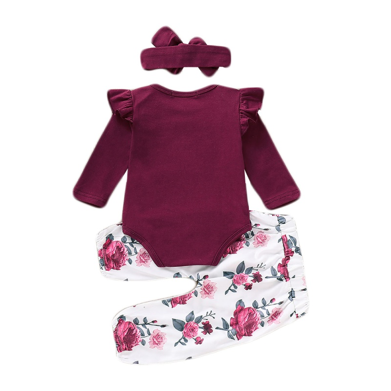 Autumn New Baby Girl Sets Clothes Outfit Solid Long Short Romper Bodysuit Floral Pants Headband Top