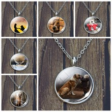 Collier pendentif en verre argenté pour chien de compagnie, Cabochon Animal, cadeaux de noël pour lui