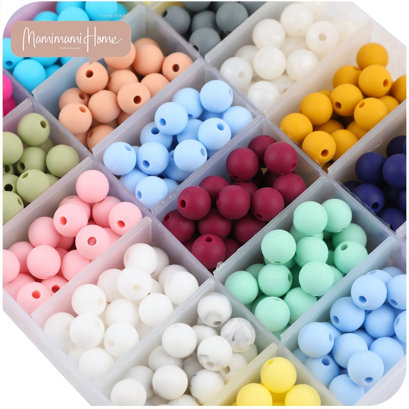 50pcs 9mm Silicone Baby Teething Round Beads Baby Teether Bracelet Nurse Gift Toys Accessories For Pacifier Diy Chain