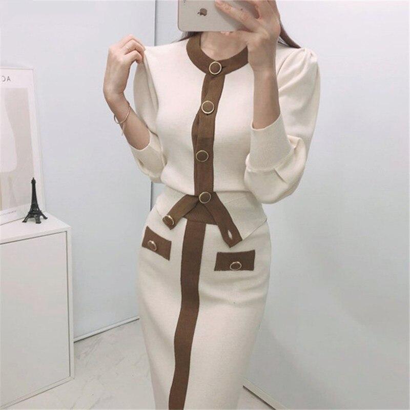 Осень 2020, Корейские вязаные цветные комплекты из двух предметов, женский кардиган с длинными рукавами + костюмы с длинной юбкой с эластичной...