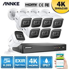 Anke 4K 8CH الترا HD نظام كاميرا CCTV H.265 DVR عدة 8 قطعة 8MP TVI IP67 في الهواء الطلق نظام مراقبة أمن الوطن بالفيديو