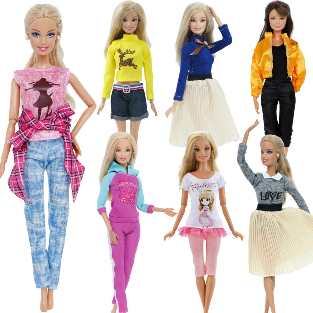 Handmade Outfit Casual Daily Wear Pink Shirt Cute Blouse Sport Pants Dress Skirt Clothes For Barbie Doll Accessories Kids Toy