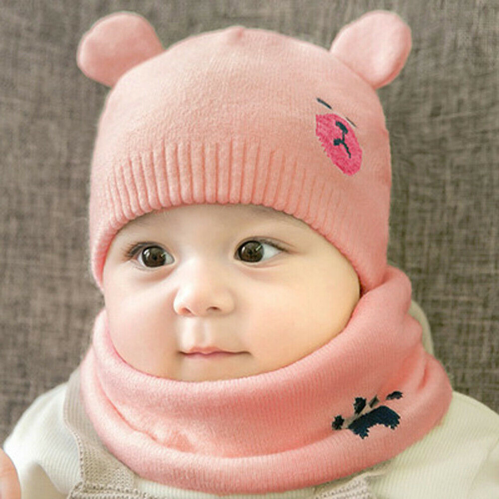 Cute Baby Girls Boys Warm Winter Knit Wool Beanie Hat Neck Scarf Ski Cap Lovely Cartoon Print Beanies Sets