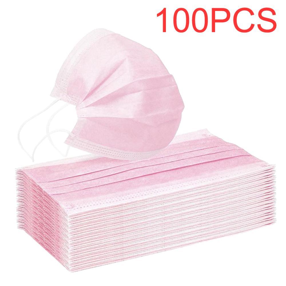 100/50/10 pces máscara facial descartável rosa respirável máscara facial moda ao ar livre você está muito perto esportes ao ar livre mascarillas