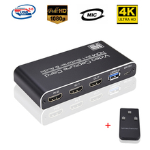 USB3.0 HDMI 4K 60Hz di Acquisizione Video HDMI a USB Scheda di Acquisizione Video Dongle HDMI 2*1 Interruttore gioco In Streaming In Diretta Streaming Trasmissione