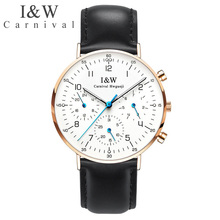 I&W Ultra Thin Quartz Watch Men Carnival Top Brand