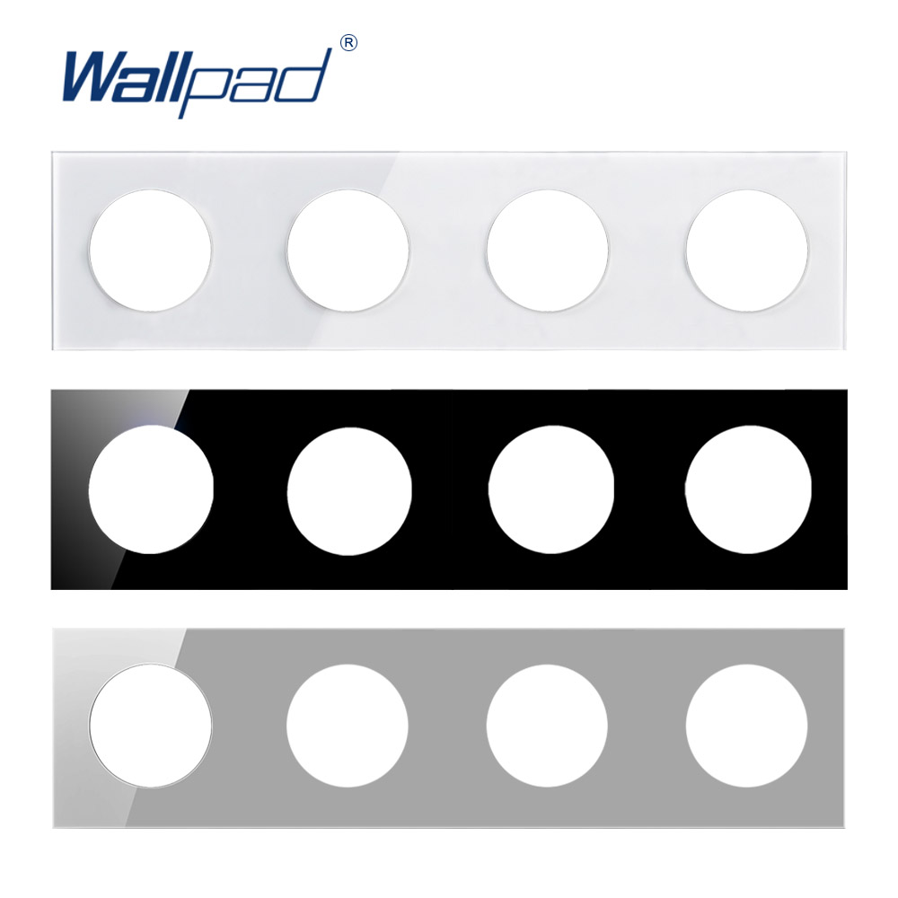 Wallpad 4 Tempered Glass Panel Only 344*86mm White And Black Round Circle