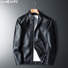 HENCHIRY 2019 New Fashion Mens Smooth Motorcycle Faux Leather Jackets Boy Long Sleeve Autumn Winter Biker Streetwear Black Coat