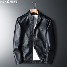 HENCHIRY 2019 New Fashion Men's Smooth Motorcycle Faux Leather Jackets Boy Long Sleeve Autumn Winter Biker Streetwear Black Coat(China)
