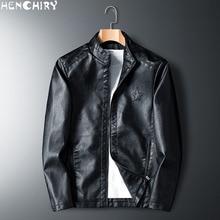 HENCHIRY 2019 新ファッションメンズスムーズオートバイフェイクレザージャケット少年長袖秋冬バイカーストリート黒コート