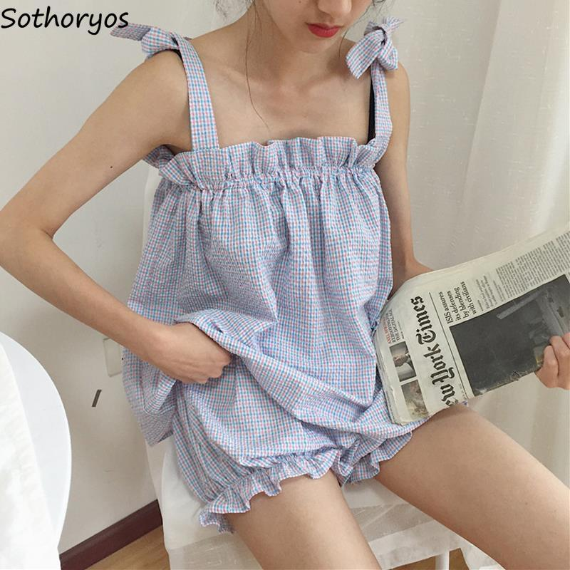Pajama Sets Women Summer Elastic Pleated Adjusted Spaghetti Blue Plaid Sweet Womens Korean Style Homewear Leisure Students New