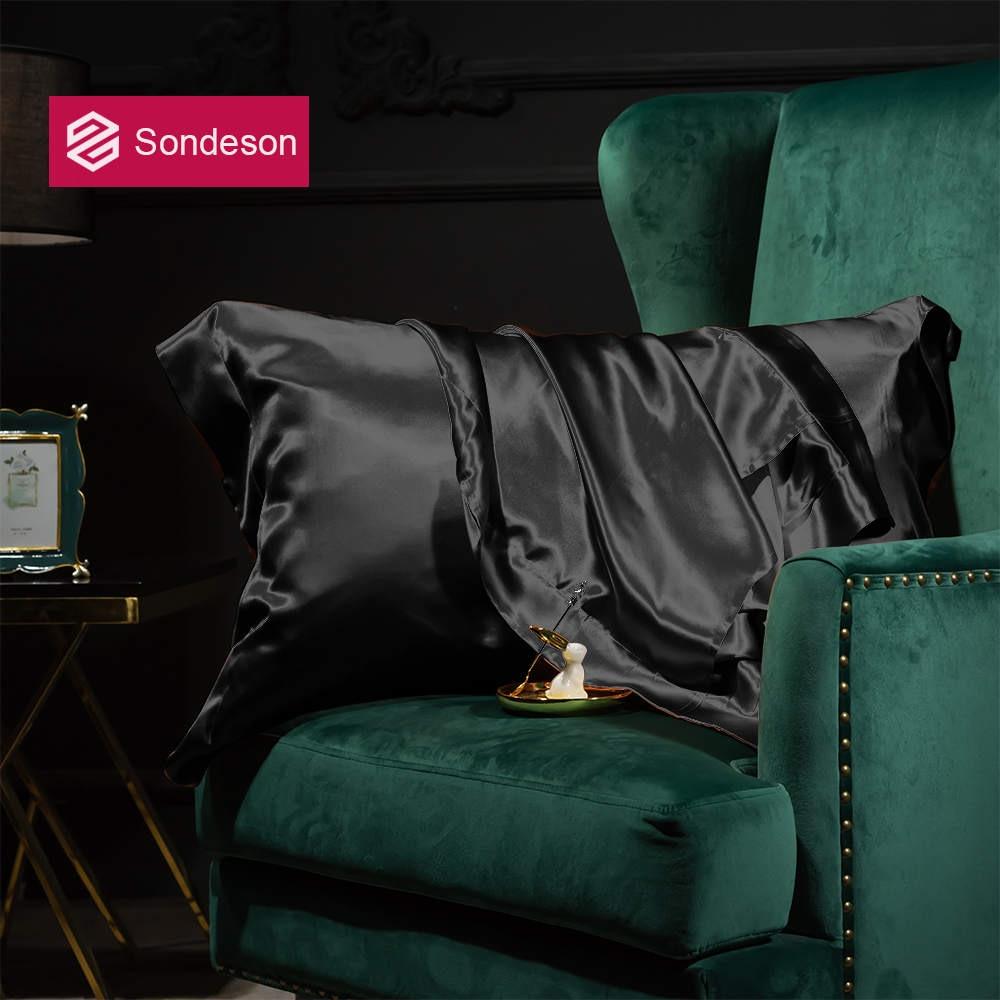 Sondeson Luxury Beauty 100% Silk Black Pillowcase 25 Momme Healthy Pillow Case Silky Pillow Shams For Women Men Free Shipping