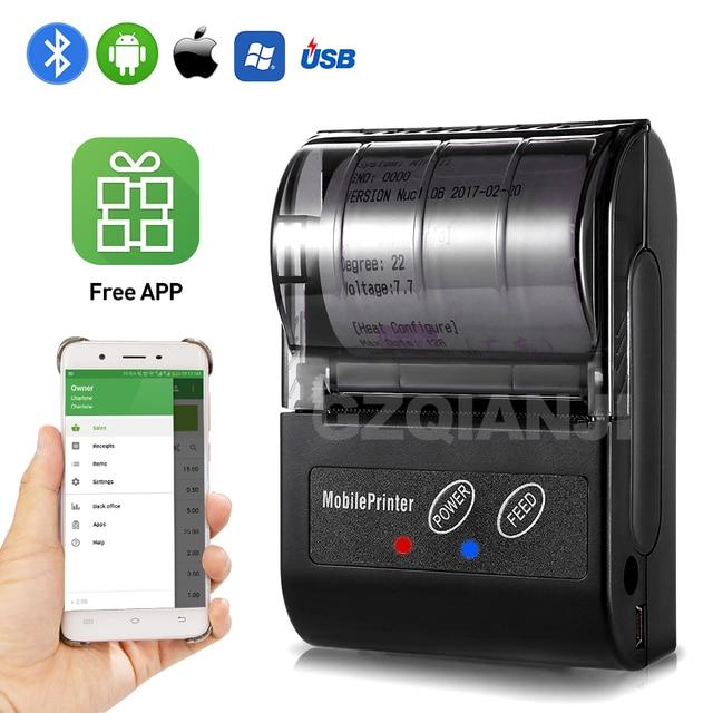 POS 58MM Bluetooth Thermische Empfang Drucker Tragbare Mobile Wireless Empfang Maschine für Windows Android iOS Telefon 80 mm/s geschwindigkeit